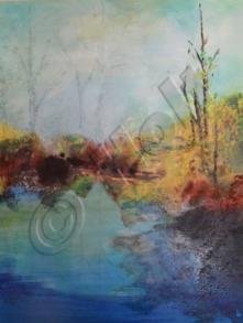 Mist over the pond - Oil on canvas