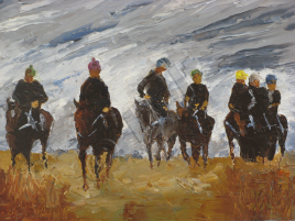 On the gallops 2 - oil on board